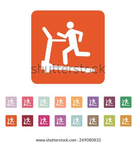 Cross trainer machine icon. Running symbol. Flat Vector illustration. Button Set - stock vector