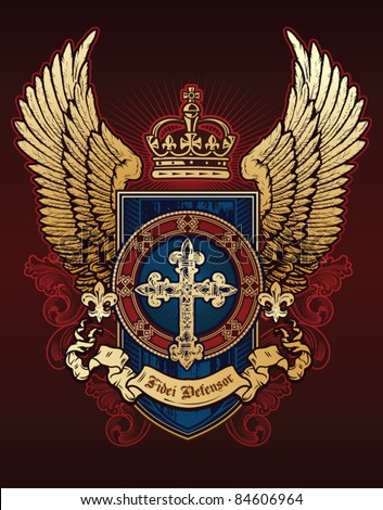 Cross Wing Shield Red Blue and Gold