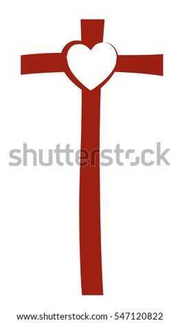 Cross Heart Abstract Christian Religious Symbol Stock Vector