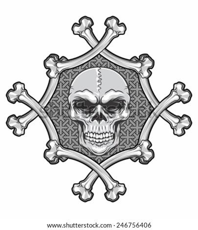 crossbones frame with skull - stock vector
