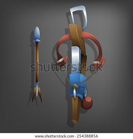 Crossbow and bolt. Vector illustrations. - stock vector