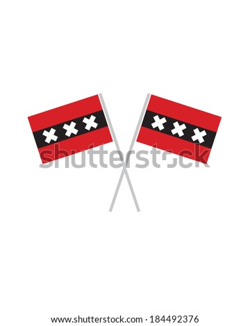 Crossed Amsterdam Flags - Vector - stock vector