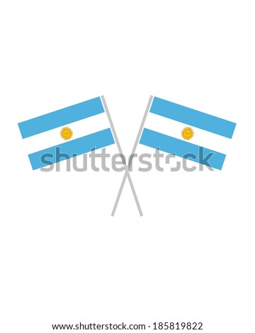 Crossed Argentina Flags - Vector - stock vector