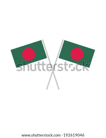 Crossed Bangladesh Flags - Vector - stock vector