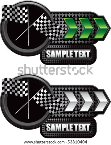 crossed checkered flags green and white arrow nameplates - stock vector