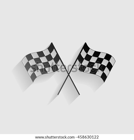 Crossed checkered flags logo waving in the wind conceptual of motor sport. Black paper with shadow on gray background.