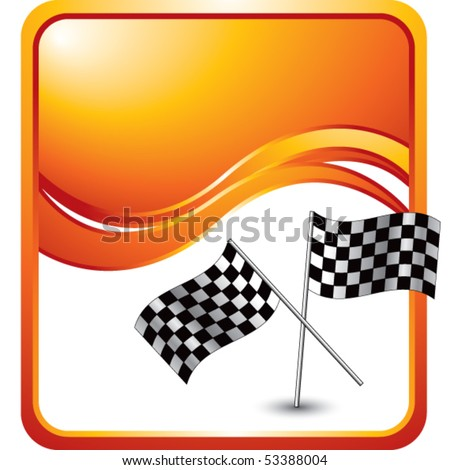 crossed checkered flags orange wave background - stock vector