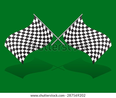 Crossed chequered racing flags over green. Transparent shadow. - stock vector