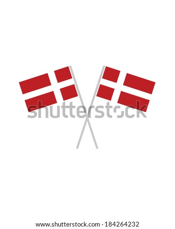 Crossed Denmark Flags - Vector - stock vector