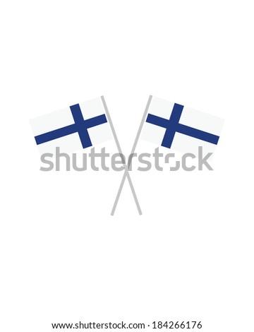 Crossed Finland Flags - Vector - stock vector