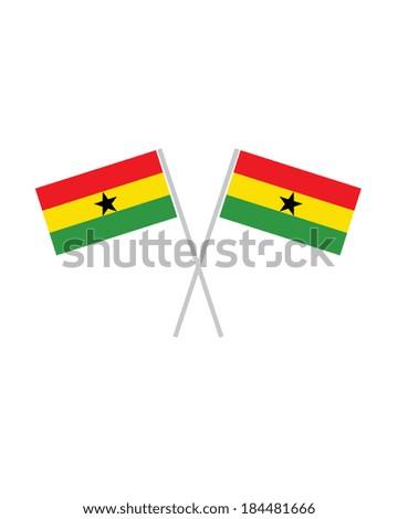 Crossed Ghana Flags - Vector - stock vector