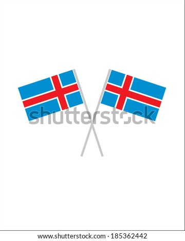 Crossed Iceland Flags - Vector - stock vector