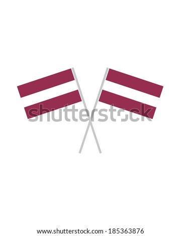 Crossed Latvian Flags - Vector - stock vector