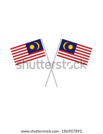 Crossed Malaysia Flags - Vector - stock vector