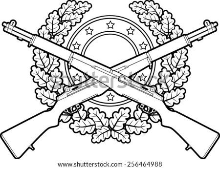 Crossed Military Rifles Oak Leaves Stock Vector 256464988