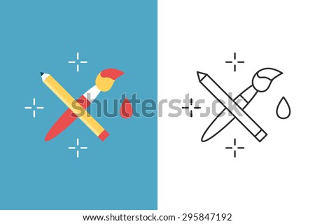 Crossed pencil with paint brush flat and line style vector icon - stock vector