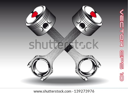 Crossed Pistons Drawing Crossed Pistons With Harts
