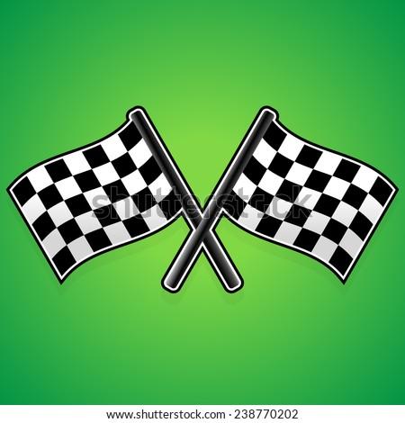 Crossed racing flags - stock vector
