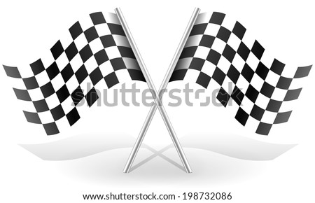 Crossed  racing flags in space with shadow(s) - stock vector