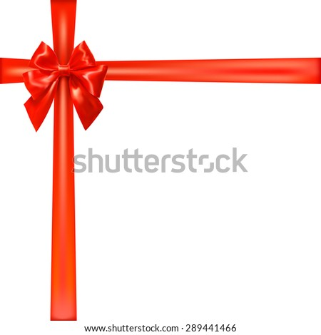 Crossed ribbon with red bow. Festive background for your design. Vector illustration - stock vector