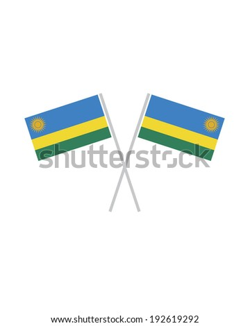 Crossed Rwanda Flags - Vector - stock vector