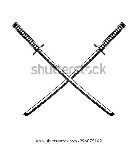 Crossed Samurai Swords isolated on white background Vector illustration - stock vector