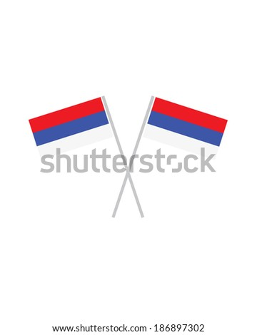 Crossed Serbia Flags - Vector - stock vector
