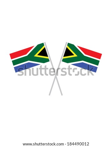Crossed South African Flags - Vector - stock vector