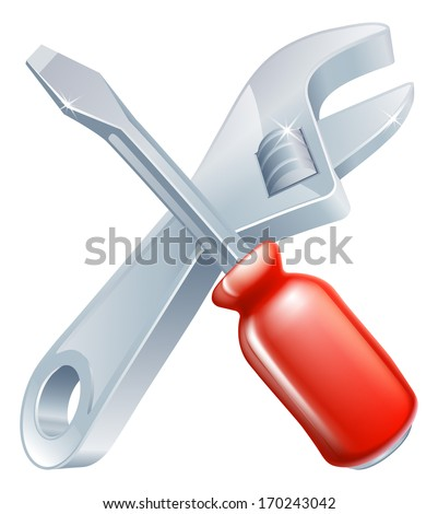 Crossed spanner and screwdriver icon of cartoon tools crossed, construction or DIY or service concept
