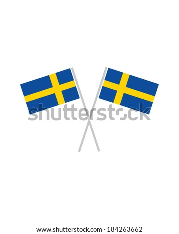Crossed Swedish Flags - Vector - stock vector