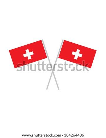 Crossed Swiss Flags - Vector - stock vector