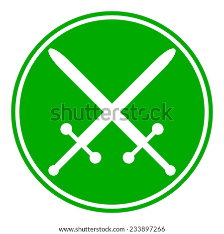 Crossed swords button on white background. Vector illustration.