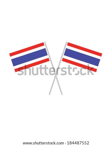 Crossed Thailand Flags - Vector - stock vector
