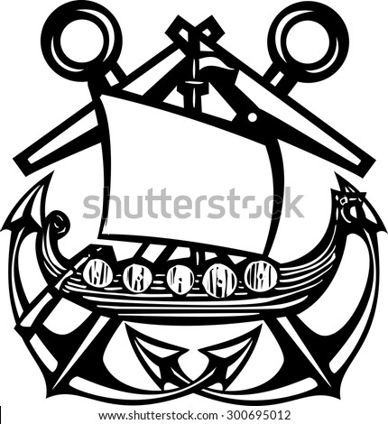 Crossed Woodcut style sea anchors with viking ship - stock vector