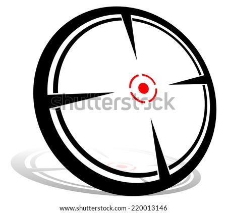 Crosshair graphics. Aim, target, focus, firearm reticle. - stock vector
