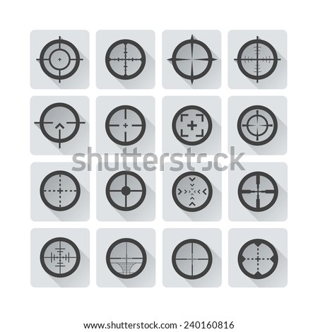 Crosshair Icons Set with Shadow - stock vector