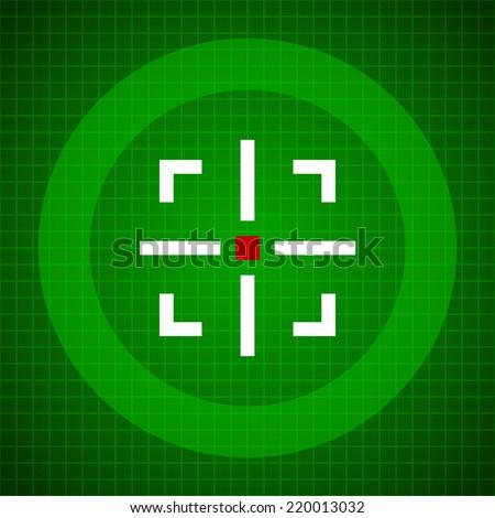 Crosshair over green grid background. Target, aim, scanner, viewfinder, radar, satellite. - stock vector