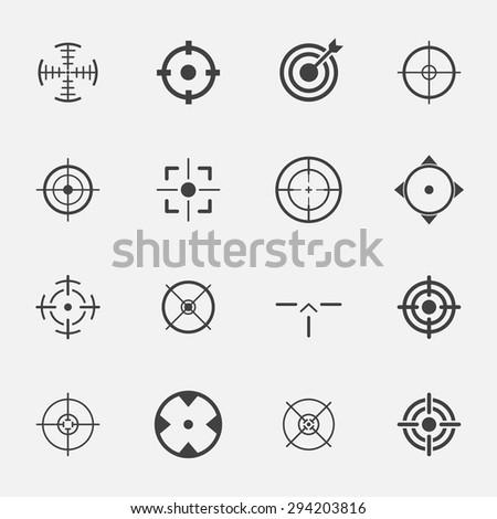 crosshairs icon set. - stock vector