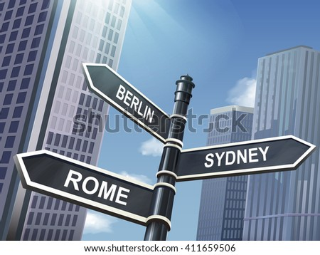 crossroad 3d illustration black road sign saying berlin and rome and sydney - stock vector