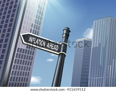 crossroad 3d illustration black road sign saying inflation ahead