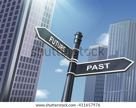 crossroad 3d illustration black road sign saying past and future - stock vector