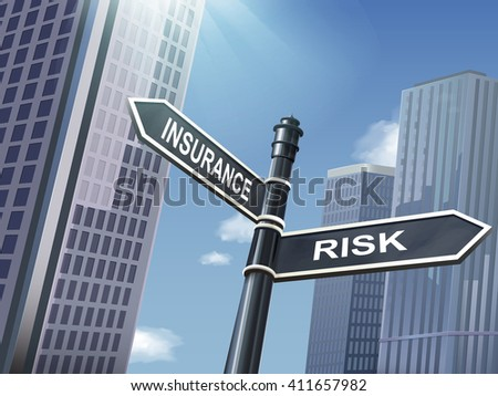 crossroad 3d illustration black road sign saying risk and insurance - stock vector
