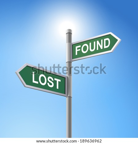 crossroad 3d vector road sign saying lost and found - stock vector