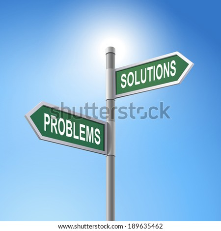 crossroad 3d vector road sign saying problems and solutions - stock vector