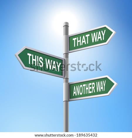 crossroad 3d vector road sign saying that way and this way and another way - stock vector