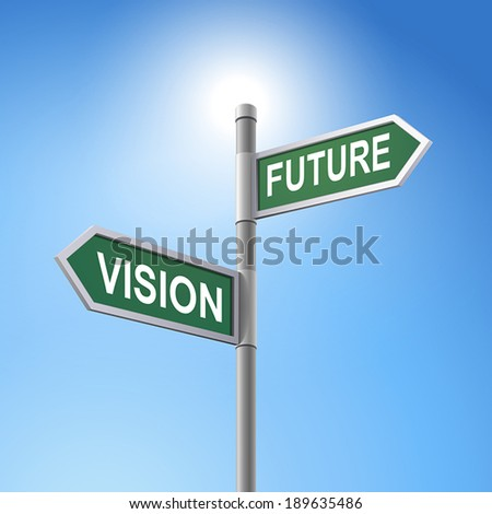 crossroad 3d vector road sign saying vision and future - stock vector