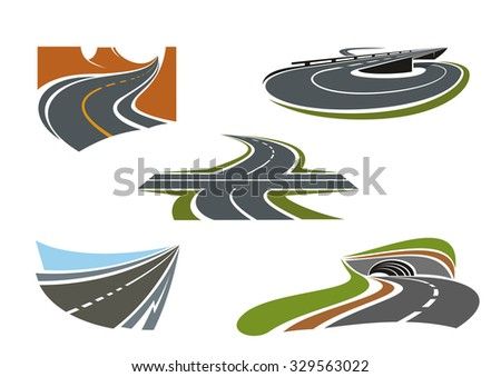 Crossroad, mountain road, highway tunnel, road bridge and modern speed freeway icons set, for transportation theme - stock vector