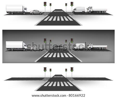 Crossroad on way, green traffic lights and city traffic, vector illustration - stock vector