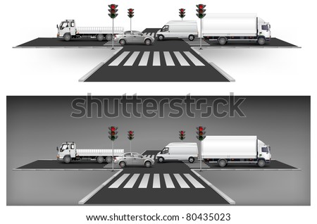 Crossroad on way, red traffic lights and city traffic, vector illustration - stock vector