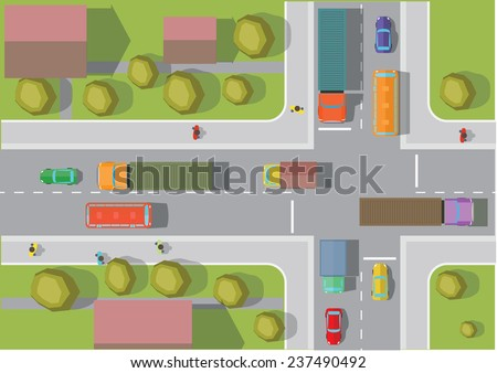 Crossroads in the town. Top view. Vector illustration. - stock vector